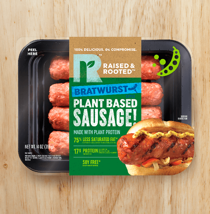 Raised And Rooted Bratwurst Style Plant Based Sausage